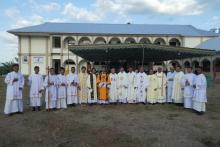 Before the celebration of the Holy Eucharist and the blessing of the new seminary.