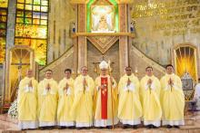 The seven new priests with the Bishop, after the Mass of ordination.