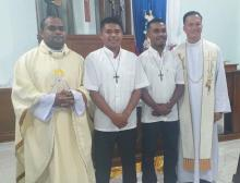 Fr. Ferdinandus Tanga and Fr. Tirso Alcover with the two Postulants in Maumere, Indonesia.