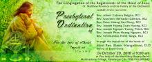The Ordination to the Priesthood will be held on Oct. 20, 2018, at the Rogationist Parish in Paranaque.