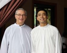 Fr. Bruno Rampazzo, Superior General, and Fr. Orville Cajigal, the new SMP Superior.