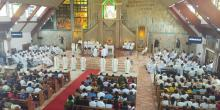 The interior of the Parish of the Most Holy Rosary during the ordination Mass.