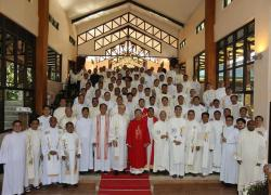 Group picture with the outgoing SMP Provincial Council, after the Mass at St. Matthew Chapel, Oasis of Prayer, Silang.