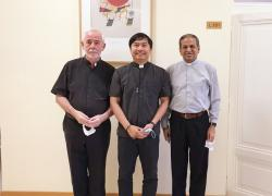 Fr. Magbuo RCJ with his professors at the Gregorian University after the thesis defense.
